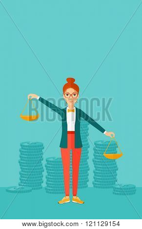 Business woman with scales.