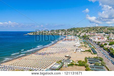 Wide Public Beach Of Gaeta Resort Town, Italy