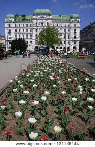 Vienna, Austria - April 25, 2013: Buildings Of A Famous Wiener Ringstrasse