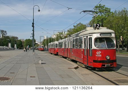 Vienna, Austria - April 22, 2010: Tram Near The Austrian Parliament Building In Vienna, Austria