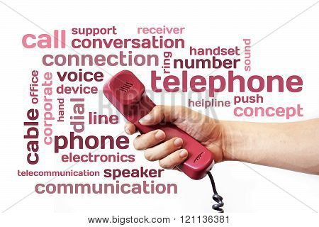 Hand Holding Handset Telephone And Telephone Word Isolate On White Background