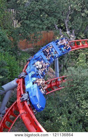 Barcelona, Catalonia, Spain - August 29, 2012: Roller Coaster Attraction In The Tibidabo Amusement P