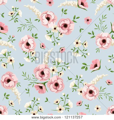 Seamless pattern with pink and white flowers on blue. Vector illustration.