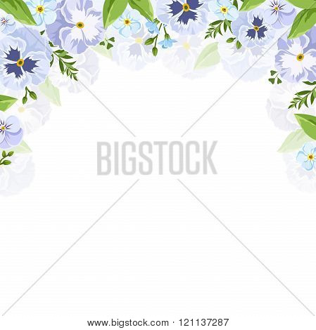 Vector background with blue and purple pansy and forget-me-not flowers.