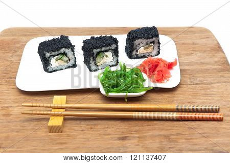 Rolls With Caviar, Pickled Ginger And Chuka Salad