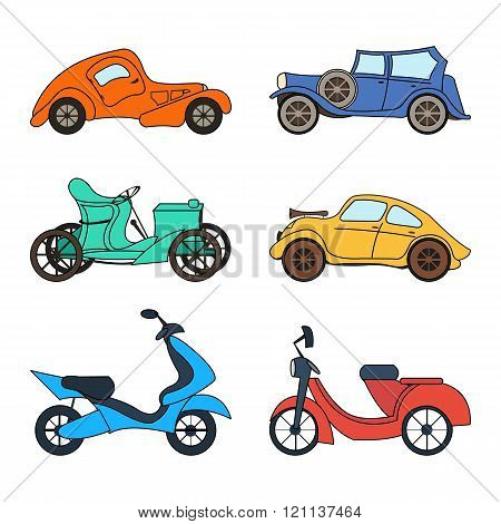 Vector set of four retro cars and two scooters