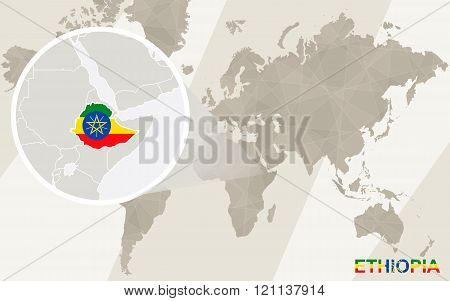 Zoom On Ethiopia Map And Flag. World Map.