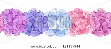 Horizontal seamless background with pink, blue and purple hydrangea flowers. Vector illustration.