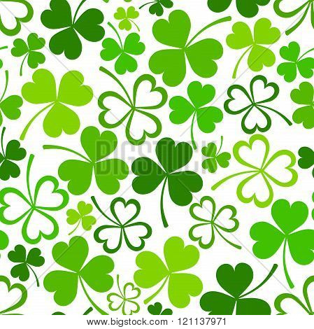 St. Patrick's day seamless pattern with green shamrock. Vector illustration.