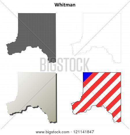 Whitman County, Washington outline map set