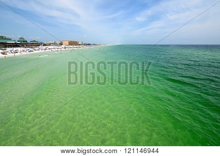 Paradise Beach With Clear Water And People