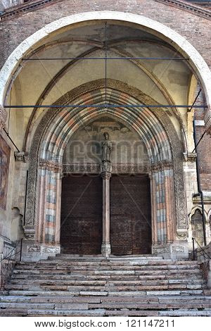 San Fermo Maggiore Beautiful Gothic-romanesque Side Portal In Verona
