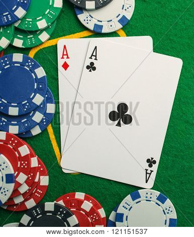 poker two aces, place for text