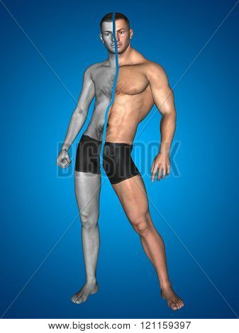 Concept or conceptual 3D strong young male man bodybuilder vs underweight thin on blue background