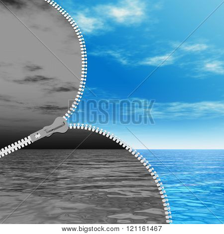 Concept or conceptual 3D abstract zipper, dramatic dark cloudy sky and sea to sunny summer blue sky with clouds background