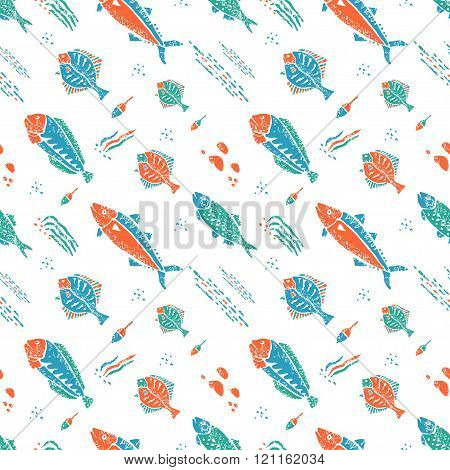 Underwater seamless pattern in naive lino style