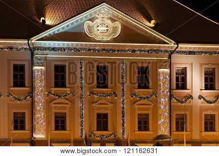 A night Tartu in Estonia. Town hall. ** Note: Visible grain at 100%, best at smaller sizes