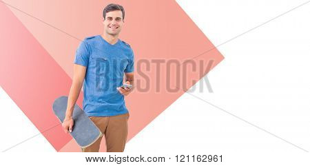 Man with skateboard and smartphone against red vignette