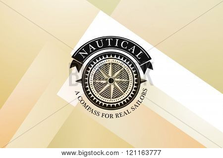 Nautical compass icon against colored background