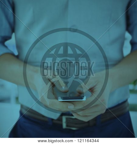 Mid section of businessman using mobile phone against white background with vignette