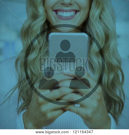 Beautiful blonde woman smiling and using smartphone against white background with vignette