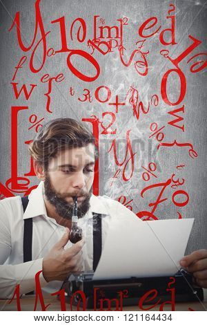 Hipster with smoking pipe working on typewriter against white and grey background