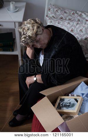 Widow and her memory box