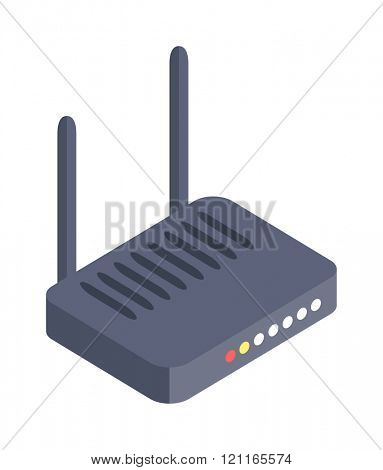 Isometric wifi modem router illustration isolated on white. Router detailed isometric icon graphic illustration. Isometric wi-fi modem 3d technology. Isometric wi-fi modem digital design.