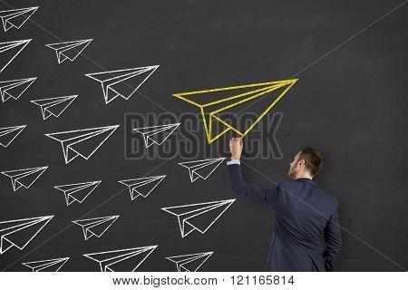 Airplane Leadership Concept on Blackboard