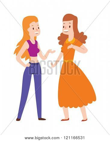 Two girlfriends cartoon trendy gossiping illustration collection Lovely girlfriends are embracing and smiling. Girlfriends cartoon young couple people. Girlfriends cartoon fashion design.