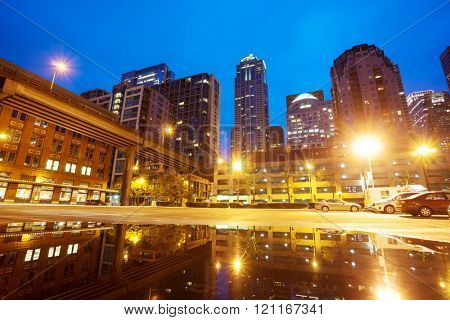 cityscape and skyline of seattle at night