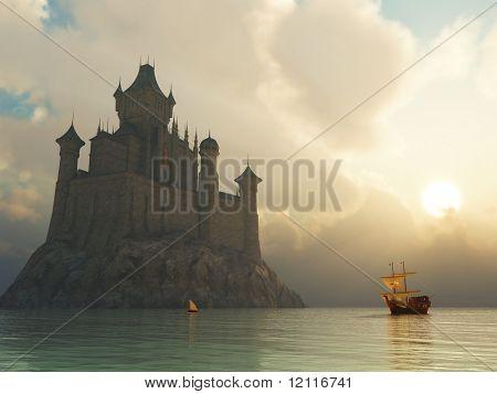 fantasy castle at sunset