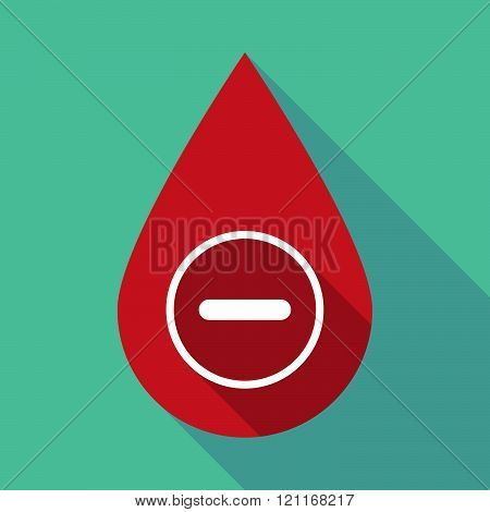 Long Shadow Blood Drop With A Subtraction Sign