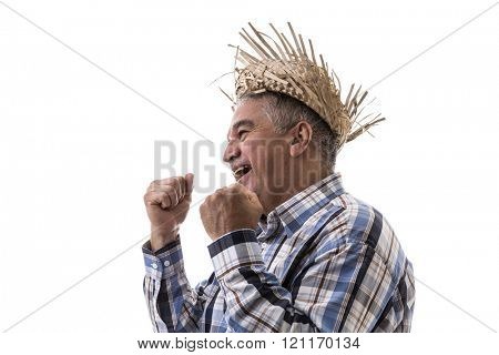 Brazilian old man wearing junina costume