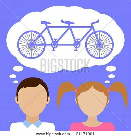 Couple Dream About Tandem Bicycle.