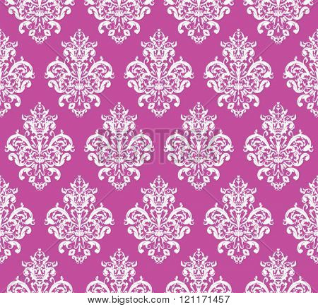 Pink Seamless repeating Vector Pattern. Elegant Design in Baroque Style Background Texture.