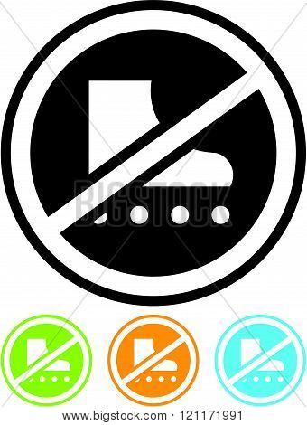 No rollerblading sign - Vector icon isolated.