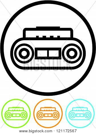 Retro cassette music player - Vector icon.