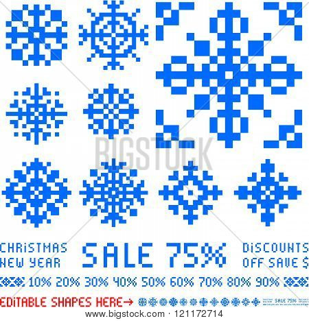 Pixel_x-mas snowflakes designs