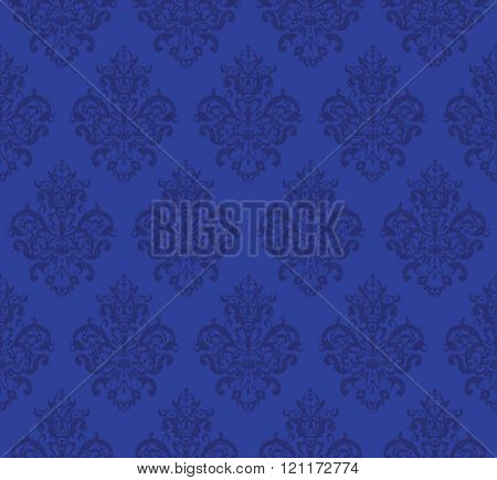 Blue Seamless repeating Vector Pattern. Elegant Design in Baroque Style Background Texture.
