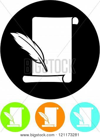 Paper Scroll and Ink Pen - Vector icon isolated.
