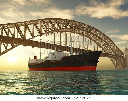 cargo ship sail under bridge