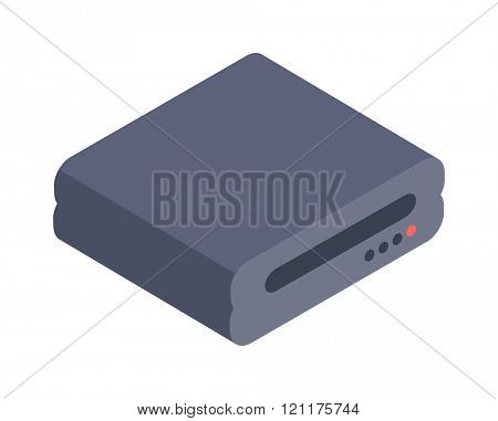 Computer Drive isometric icon vector illustration. Isometric Floppy drive. Computer drive. Memory computer drive technology. Computer equipment device symbol isolated on white.