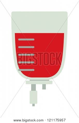 Blood transfusion flat illustration. Logotype blood donation, help the sick and needy. Dropper with a drop of blood. Blood transfusion flat. Blood transfusion flat medical equipment. Blood Bag.