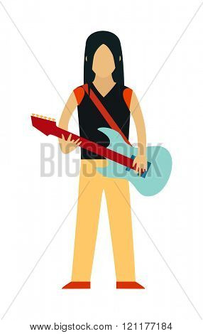 Rock Star people flat illustration. Rock Star cartoon characters with guitar isolated on white background. Rock Star guitarist people icons. Rock Star people rock guitar cartoon style.