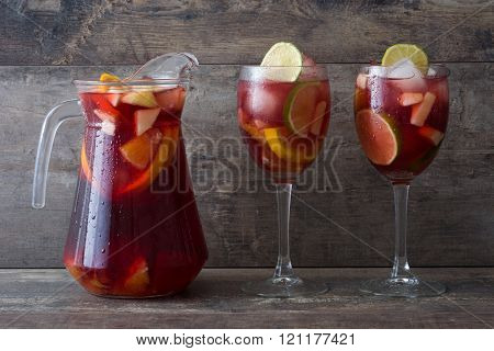 Summer sangria on a rustic wood