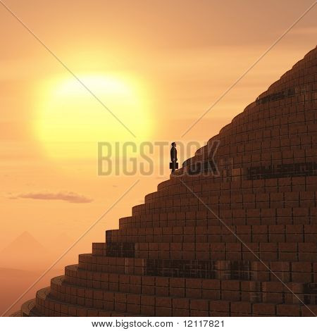 businessman rising on staircase