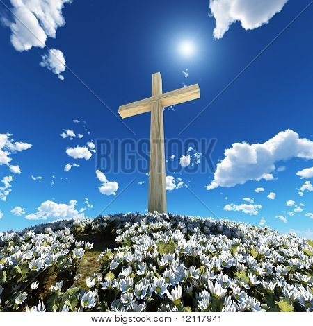 cross surrounded by flowers