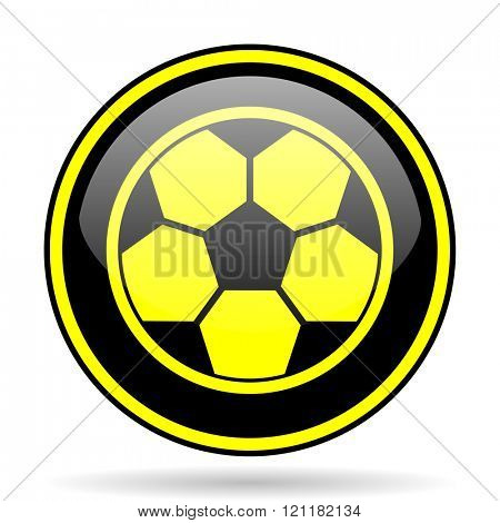 soccer black and yellow modern glossy web icon