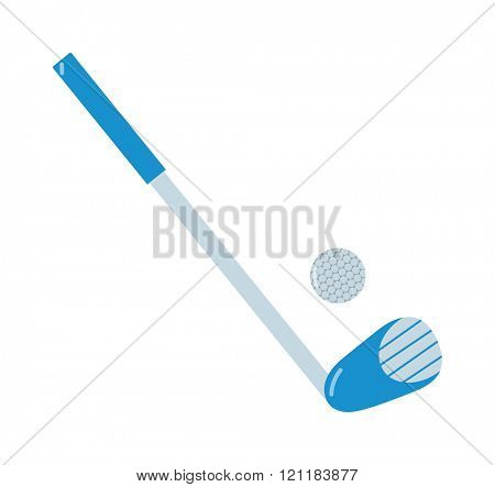 Golf putter and golf ball vector on white background. Golf putter with golf ball on white background. Golf collection. Vector illustration golf putter. Golf putter icons flat design.